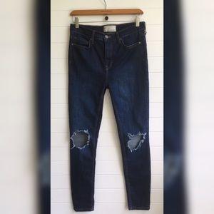 [Free People] Distressed Busted Knee Skinny Jeans
